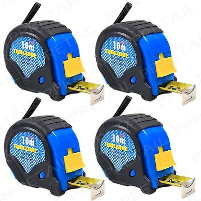 4 x RUBBER COATED 10M TAPE MEASURES Auto Lock Extra Long/Large Toolbox Measuring