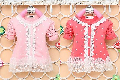 Baby Girls Polka Dots Long Sleeve Lace Outwear Cardigan Top (9 Months-3 Years)