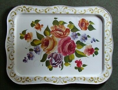 Vintage Toleware Hand Painted Shabby Cottage Tray  22""