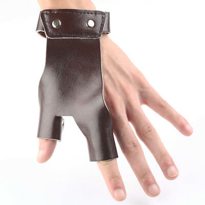 Cow Leather Archery Hunting Hand Protector 2 Finger Brown Glove Shooting Guard
