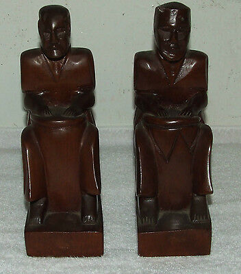 Vintage Pair of Hand Carved Mid Century Mahogany Wood Figural Musician Bookends