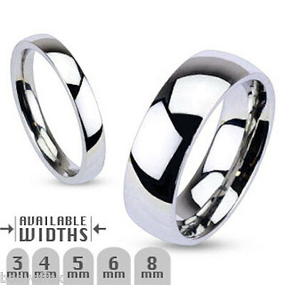 Great Mens Womens 316L Stainless Steel Silver Traditional Wedding Band Ring
