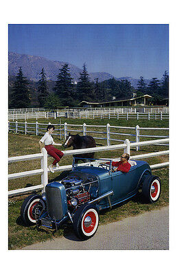 New Hot Rod Poster 11x17 Traditional High Boy Roadster pin up girl Montana