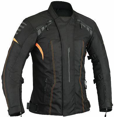 Orange Hivis Motorbike Motorcycle Jacket Waterproof with Armours