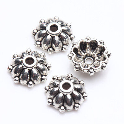 100Pcs Tibet Silver Plated Flower Spacer Bead Caps Jewelry Findings DIY 8x3mm