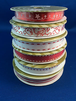 Satin Grossgrain Ribbon Full Rolls 10mm x 3m red white gift wrapping New Xmas
