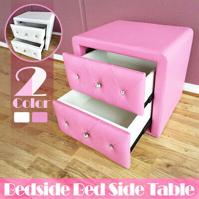 Kids bed side table bedside PU Leather Beautiful Diamond Crystal Girls Children