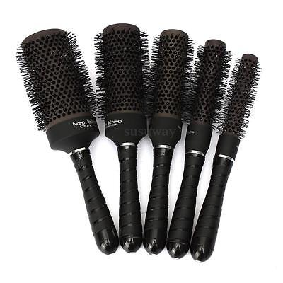 5 Sizes Ceramic Ionic Round Comb Barber Hair Dressing Salon Styling Brush Barrel