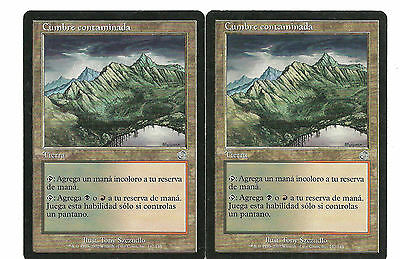 mtg Magic 2x Tainted Peak (  Cumbre Contaminada ) Spanish Light Played