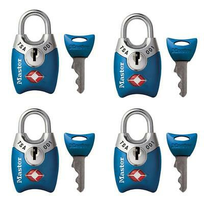 New Master Lock 4689Q  TSA Accepted Padlocks with Keys, 4 Pack (Colors may vary)