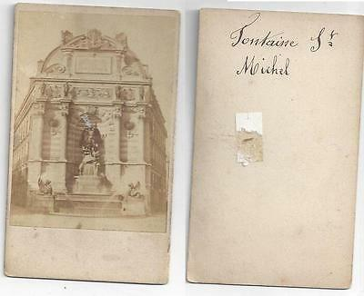Photo Of The Fountain Of St Michaels In Paris France 1860s CDV