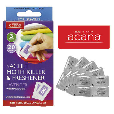 Pack Of 20 Acana Moth Killer & Freshener Sachets With Lavender Fragrance-0453