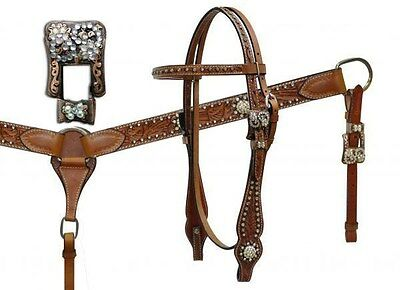 Vintage Style Leather Headstall & Breastcollar Set w/ CLEAR Rhinestones NEW TACK
