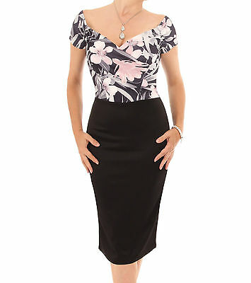 New Pink and Black Floral Pencil Dress - Knee Length