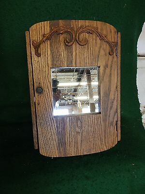 Antique Oak Surface Mount Medicine Cabinet Cupboard Old Vtg Bathroom 4841-15