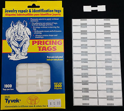 1000 PCS White Price Sticker Tags, Jewelry Square Barbell labels Dumbbell tags