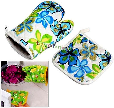 Oven Glove Mat Cotton Pot Pad Heat Proof Microwave Kitchen Protector Colors