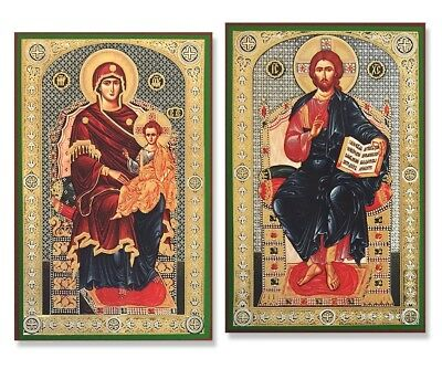 """Russian Icons Matching Set Pair of The Enthroned Virgin Mary and Christ 7 3/4"""""""