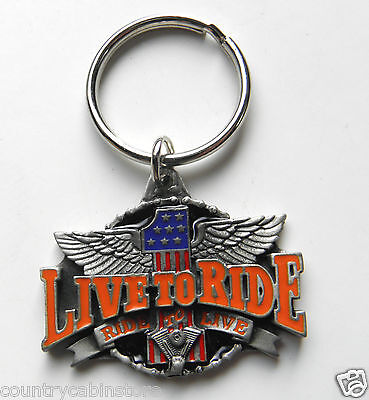 Live to Ride to Live Biker Wings USA #1 Keyring Key Chain Keychain 1 3/4 inches