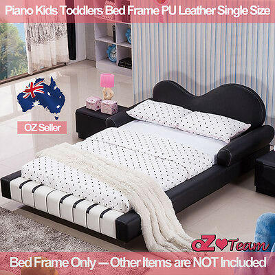 Piano Kids Toddlers Bed Frame PU Leather Girls Boys Children  Single Size