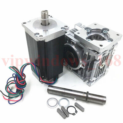 Ratio 15:1 Worm Gearbox Nema23 L112mm 4.2A Stepper Motor Speed Reducer CNC Kit