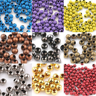 20/50/100Pcs 10 Colors Metal  Loose Spacer Round Big Hole Bead Jewelry Craft