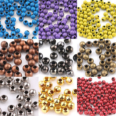 20/50/100Pcs Metal Loose Spacer Round Big Hole Bead Jewelry Craft Wholesale