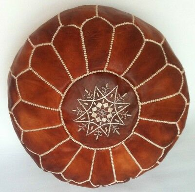 100% Leather Handcrafted Moroccan Pouffe Honey/Orange brown