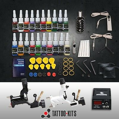 Professional Complete Tattoo Kit 2 Top Rotary Machine Gun 20 Color Inks
