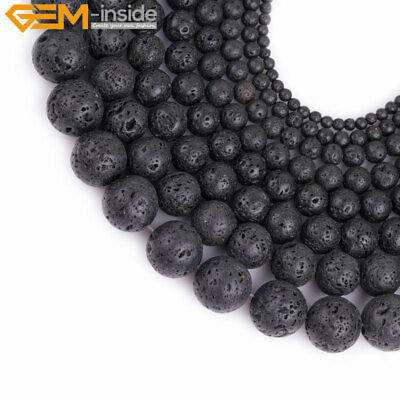 "Natural Black Lava Rock Stone Spong Round Loose Beads For Jewelry Making 15"" GI"
