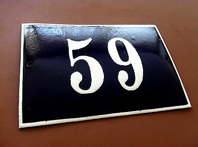 Vintage European French Enamel Sign House Number 59 Door Gate Sign Cobalt Blue
