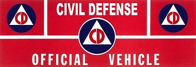 Civil Defense Vehicle Automobile Sign Cold War 1950 Era