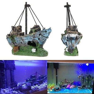Ornement de aquarium Epave voilier coulé Decor bateau Destroyer Fish Tank grotte