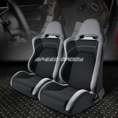 2X Fully Reclinable Gray/black Cloth Type-R Style Bucket Racing Seat+Slider Rail