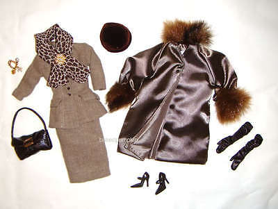 Silkstone Fashion Brown Tweed Fitted Suit/Shiny Overcoat For Barbie Dolls ske001
