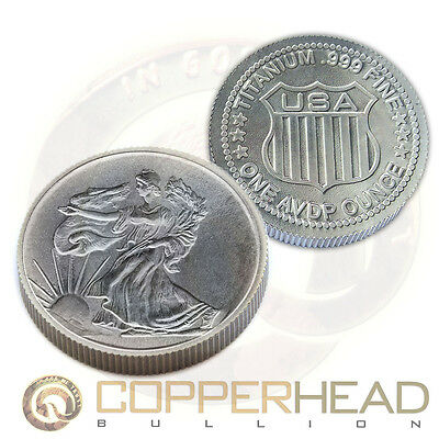 1 x 1oz Titanium Round Walking Liberty American Eagle Titanium Bullion Coin