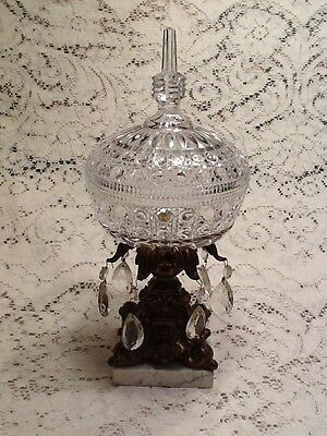 Antique Crystal Gold Tone Compote with Lid & Marble Base             #349