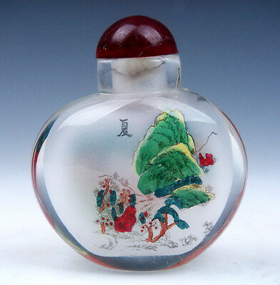 Peking Glass Inside *Summer Scenery* Reverse Hand Painted Snuff Bottle #082715