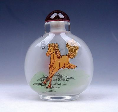 Peking Glass Inside Zodiac Sign *Horse* Hand Painted Large Snuff Bottle FengShui