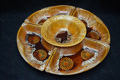 Vintage Lazy Susan - California Pottery & Wade of Calif.  - Brown and Beautiful