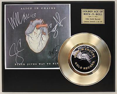 Alice In Chains Reproduction Signature Gold Record Ltd Edition Display