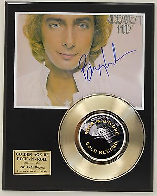 Barry Manilow Reproduction Signature Gold Record Ltd Edition Display