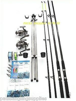 Sea Fishing Kit Shakespeare 12ft 2 Beta Rods 2 Reel Tripod Tackle Beach / Surf
