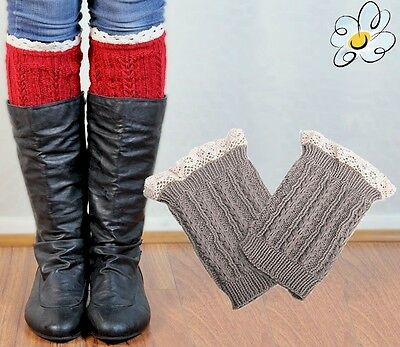 Lace BOOT CUFFS Leg Warmer Knitted  *Miss Dee* USA Seller FREE SHIP