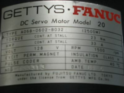 Getty's Fanuc Type A06B-0602-B032 Black Cap DC Servo Motor Model 20