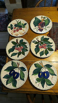 "Set of 6 BLUE RIDGE POTTERY 8 1/2"" PLATES Fruit, Colonial"