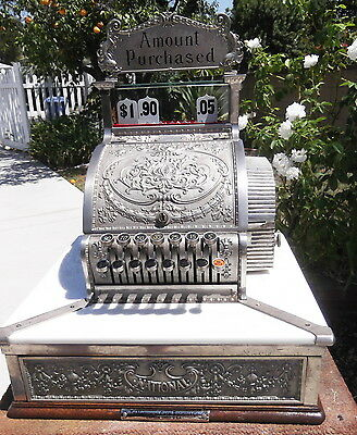 Extended Base Model 327 Cash Register Nickel Xlnt Cond. Recently Redone  Ncr