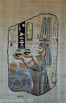 New Hand Painted Egyptian Art on Papyrus: Nefertari Making an Offering A35