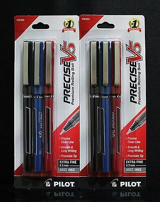 LOT 6 Pilot Precise V5 0.5mm Extra Fine Rollerball Pens Black Blue Red NEW JAPAN