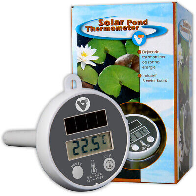 Velda Solar Pond Thermometer Digital Screen Lcd Garden Pool Water Temperature